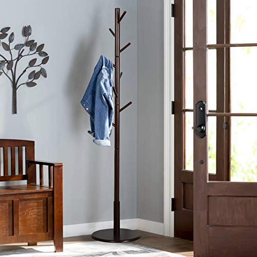 Vlush Sturdy Wooden Coat Rack Stand, Entryway Hall Tree Coat Tree with Solid Round Base for Hat,Clothes,Purse,Scarves,Handbags,Umbrella-(8 Hooks,Dark Brown)
