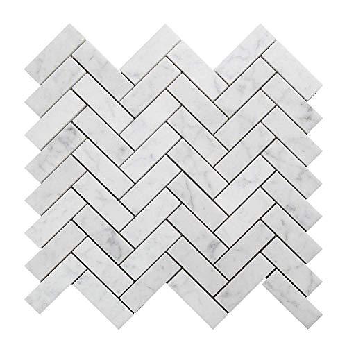 Allen Roth tile:Diflart Italian White Carrara Marble Mosaic Tile