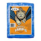 B-Air Grizzly Tarps - Large Multi-Purpose, Waterproof, Heavy Duty Tarp Poly Cover - 5 Mil Thick (Blue - 9 x 12 Feet)