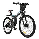 VIVI Folding Electric Bike Electric Mountain Bicycle 26' Lightweight 350W Ebike, Electric Bike for Adults with Removable 8Ah Lithium Battery,Professional 21 Speed (Black)