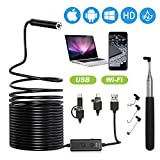 XpertMatic F160 USB and WiFi 2.0 MP HD Endoscope, 16.4FT Large Focal Range Borescope Drain Camera for iPhone, Android Phone, PC, MacBook - 16.4FT Semi-Rigid with 8 Adjustable LED Lights