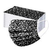 50 Stück Schwarz/Rosa/Weiß Schönes Muster Einmal-Mundschutz Mundbedeckung Erwachsene 3-lagig Atmungsaktiv Einweg Mund und Nasenschutz Atmungsaktive Gesichtsschutz Bandana Bedeckung Halstuch (schwarz)