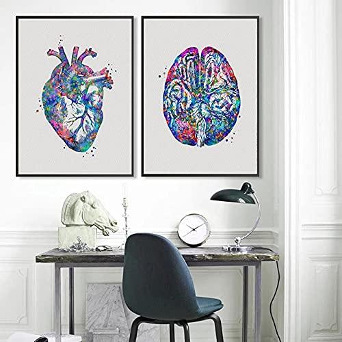 Regalo de enfermera pintura de acuarela impresiones médicas arte de pared lienzo póster decoración de oficina regalo de graduación de médico sin marco-50x70cmx2