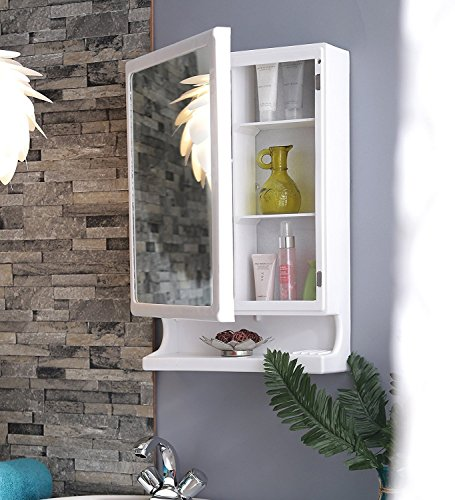 Parasnath White New Look Bathroom Cabinet with Mirror Made in India