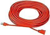 Amazon Basics 2-Pack 100-Foot 3-Prong Heavy-Duty Vinyl Indoor/Outdoor Extension Cord - 10 Amps, 1250 Watts, 125 VAC, Orange