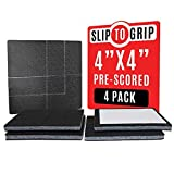 SlipToGrip' Non Slip Furniture Pad Grippers - Stops Slide - Multi Size (12 Pads) - Make 4', 1', 2', etc.- Pre-Scored Multiple Sizes - 3/8' Felt Core - Anti Slip - No Nails, No Glue.