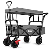 AUKAR Heavy Duty Collapsible Folding Wagon Utility Outdoor Garden Cart with 7' All-Terrain Wheels Adjustable Push and Pull Handles for Shopping, Picnic, Beach, Camping, Sports (Grey)