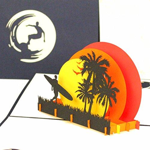 """Pop Up Karte\""""Surfer Sunset Beach\"""" - 3D Geburtstagskarte, Einladungskarte Urlaub, Reisegutschein zum Surfen, Florida als Geschenk, Geschenkverpackung Surfbrett & Einladung zum Surf Kurs mit Surfboard"""