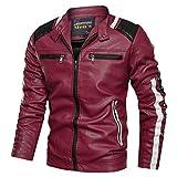 Pandaie Leather Jackets for Men Baseball Coat Vintage Stand Collar Zip Motorcycle Biker Bomber Jacket Red
