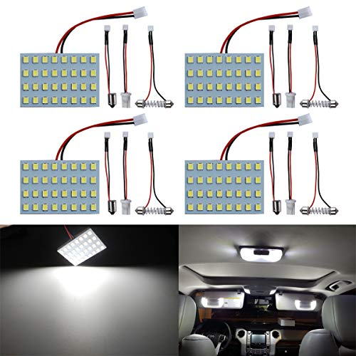 LivTee Led Panel Lights with 194 168 2825 T10 W5W / DE3175 6428 / BA9S 64111/6418 DE3423 DE3425 / 211-2 569 578 Festoon Adapters Replacement for Car Interior Map Dome Reading Trunk Lights, Xenon White