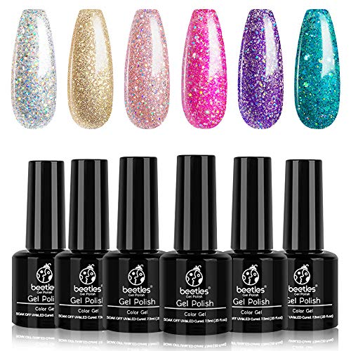 Beetles Boujee Glitter Gel Polish Set, 6 Pcs Pink Silver Gel Nail Polish Kit Glitter Purple Green Gold Nail Polish Gel Kit Art Design Christmas Gift Box, Soak Off LED Gel Nail Lamp Cured, 7.3 ml Each Bottle New Year Holiday Set