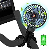 DoublePlus for Peloton Fan /NordicTrack Fan,Most Exercise bike & Treadmill,Flexible Tripod with 3 Speeds,2600mAh Battery Powered,Portable Handheld Personal Fan for Peloton Bike & Tread,Smart Mini Fan(Black)
