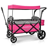 WONDERFOLD X2 Passenger Push Pull Twin Double Stroller Wagon with Adjustable Handle Bar, Removable Canopy, Safety Seats with 5-Point Harness, One-Step Foot Brake, Safety Reflective Strip, Pink