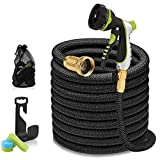 75ft Garden Hose - Expandable Water Hose with 13-Layer Latex Core, 3/4' Solid Brass Fittings, Extra-Flexible Fabric & 8 Pattern Spray Nozzle, 3-Year Warranty