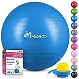 TRESKO Pelota de Gimnasia Anti-Reventones | Bola de Yoga Pilates y Ejercicio | Balón para Sentarse | Balon de Ejercicio para Fitness | 300 kg | con Bomba de Aire | Azul | 65cm