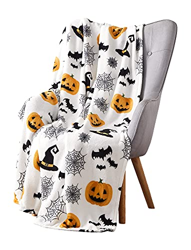 Haunted Halloween Throw Blanket: Spider Webs Witch's Hat Black Bats and Decorated Pumpkins Print on Soft Velvet Fleece for Sofa Bed Couch Chair or Dorm (Style 2)