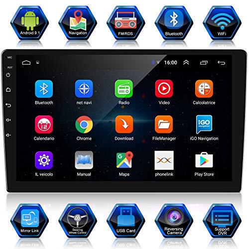 ANKEWAY 10,1 Pouces Android 9,1+RDS Autoradio 2 DIN Navigation GPS WiFi/Bluetooth Stéréo de Voiture, Système Multimédia de Voiture à écran Tactile 1080P HD (1G+16G)+Connexion Internet+Caméra de Recul