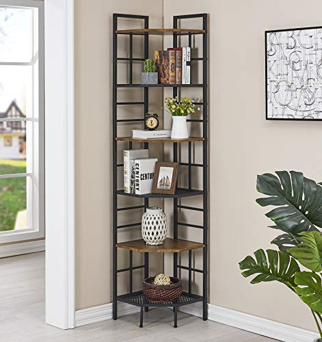 "Homissue 6 Tier Industrial Corner Shelf Unit, 76.9"" Tall Corner Bookcase Storage Display Organizer Storage Stand..."