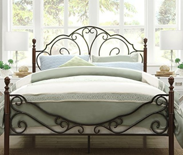 Metro Shop Tribecca Home Leann Graceful Scroll Bronze Iron Queen Sized Bed By Tribecca Homes