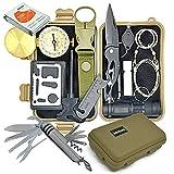 Wokkom -Kit de Survie Militaire Kaki Complet avec 11 Outils Multifonctions pour Camping, Voyage. 11...