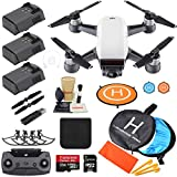 DJI Spark Drone Quadcopter (Alpine White) with 3 Batteries, Camera Gimbal Bundle Kit with Must Have...