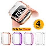 XIMU Screen Protector Case Compatible with Fitbit Versa (Not for Versa 2), 4-Pack Soft TPU Plated Full Coverage Protector Case Bumper Frame Accessories for Versa Special Edition Smart Watch