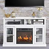 GOOD & GRACIOUS Electric Fireplace TV Stand, Fit up to 50' Flat Screen TV with Two Tempered Glass Cabinet Entertainment Center for Living Room, White