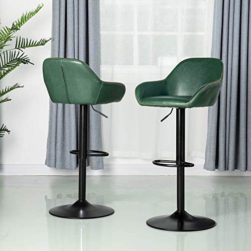 Glitzhome Mid Century Bar Stools Set of 2 Vintage Swivel Leather Bar Chair with Backrest and Footrest, Modern Pub Kitchen Counter Height Barstools, Hunter Green