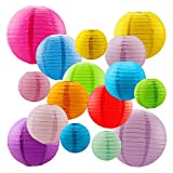 """OFNMY Paper Lanterns with Assorted Colors and Sizes Chinese/Japanese Paper Hanging Lanterns Ball Decorations for Home Decor, Parties, and Weddings (4"""", 6"""", 8"""", 10"""")"""