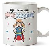 MUGFFINS Taza Hermana  Aqu Bebe una Super Hermana  Taza Desayuno/Idea Regalo Cumpleaos para Hermanitas. Cermica 350 mL