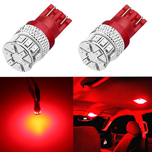 Alla Lighting Xtreme Super Bright 168 194 LED Lights Bulbs T10 Wedge 3014 18-SMD 12V W5W 2825 LED Bulbs Replacement for Cars Trucks Interior Dome Map Trunk Courtesy License Plate Lights, Pure Red