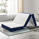 JINGWEI Folding Mattress, Tri-fold Memory Foam Mattress Topper with Washable Cover, 4-Inch, Small Twin Size, Play Mat, Foldable Bed, Guest Bed, Camp Portable Bed, 25'X75'X4'