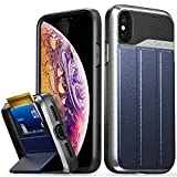 Vena iPhone XS/X Wallet Case, [vCommute] [Military Grade Drop Protection] Flip Leather Cover Card Slot Holder Compatible with iPhone XS/X - Silver (PC) / Blue (Leather) / Black (TPU)