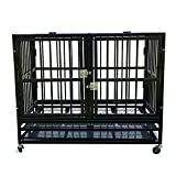 Sliverylake Dog Crate Kennel Playpen Cage Divider Heavy Duty Pet Cage w/Steel Tray Wheels (37', Black)