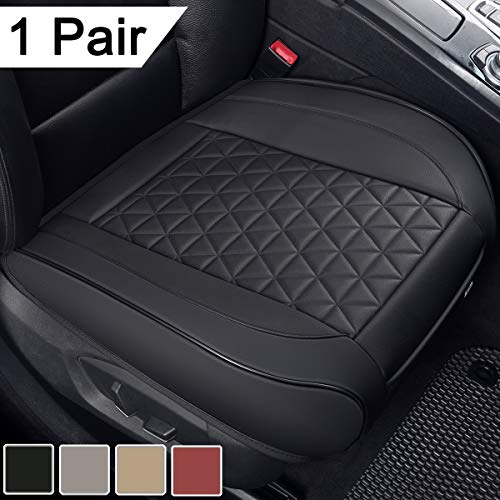 Black Panther 1 Pair Luxury PU Leather Car Seat Covers Protectors for Front Seat Bottoms,Compatible with 90% Vehicles (Sedan SUV Truck Minivan) - 21.26×20.86 Inches,Black
