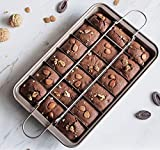 UgyDuky Non Stick Brownie Pans with Dividers Baking Pan with Built-In Slicer 18 Pre-slice Brownie Baking Tray Square Small Brownie Pan for Chocolates Candies and Cakes