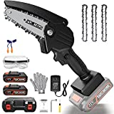 Mini Chainsaw, JPOWTECH 4 Inch Cordless Battery Powered Chain Saw 1500mAh 21V 1.5Ah Batteries and Security Lock Handheld Chainsaw for Wood Cutting, Tree Branch Pruning and Gardening (Black)