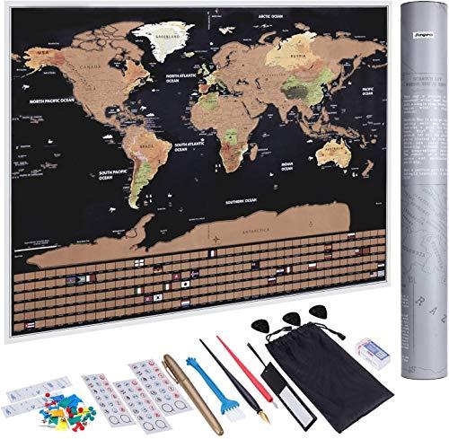 KAZOKU | Mapa Mundi Rascar Colores, Mural Mapa Mundial, Perfecto para Viajeros y Exploradores [Edición Coleccionistas - 82.5x59.4cm], Incluye Set Pegatinas y Herramientas de Rayado