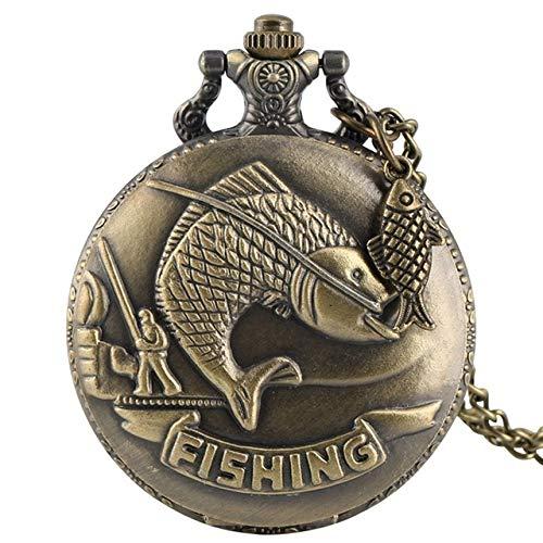 WOAIXI Vintage Pocket Watch,Bronze Fishing Sculpture Pocket Watch Necklace Chain Steampunk Clock Quartz Retro Pocket Watch Gifts Fish Accessory,1 (Misc.)