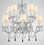 Murano Venetian Style All Crystal Chandelier Lighting W/Blue Crystals! H 25' x W 24' with White Shade