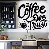 wZUN Nuestra Etiqueta de la Pared del café de Confianza Etiqueta engomada del Vinilo de la Frase Cafetería Cocina Tienda Restaurante Decoración 63X66cm