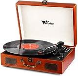 Tocadiscos - Amzdeal Tocadiscos de Vinilo Vintage DJ Bluetooth Portátil 3 Velocidades 33/45/78 con 2 Altavoces Incorporados, Multifuncional con Conector USB/SD/MMC, Salida RCA, Estilo Retro Wood