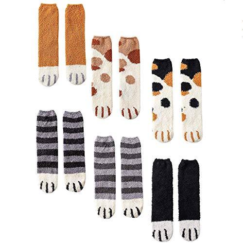 CNNIK 6 Coppie Calzini da donna per l'inverno, calzini di zampa di gatto in pile di corallo del fumetto di novit carini per donne, ragazze, signore