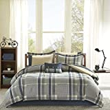 9-Piece Plaid Checkered Pattern Comforter Bed In A Bag Set Queen Size, Beautiful Cabin Lodge Southwest Check Stripes Theme, Casual Classic Style, Reverse Bedding, Abstract Colors Navy Blue Tan, Unisex