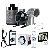 BloomGrow 4'' Inline Fan Carbon Filter Ducting Combo + Fan Speed Controller + 24 Hour Timer Outlet+Thermometer Ventilation System for Grow Tent Kit (4'')