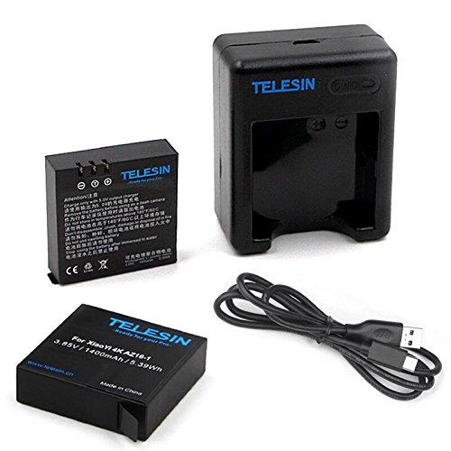 TELESIN 2 batterie ricaricabili della batteria di sostegno di 1400mAh con caricabatteria doppio del USB per la macchina fotografica 2 di azione di sport di Xiaomi Yi 4K