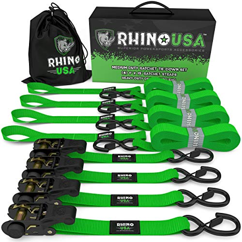 RHINO USA Ratchet Tie Down Straps (4PK) - 1,823lb Guaranteed Max Break Strength, Includes (4) Premium 1' x 15' Rachet Tie Downs with Padded Handles. Best for Moving, Securing Cargo (GREEN)