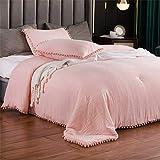 SexyTown-Peach Pink Boho Fringe Queen Comforter Set,Lightweight Cute Warm Pompom Bedding Comforter Soft All Season 3 Piece (1 Comforter + 2 Pompoms Fringe Pillow Shams)