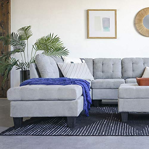 Casa AndreaMilano 2 Piece Modern Soft Tufted Micro Suede Sectional Sofa Couch with Reversible Chaise & Ottoman, Grey