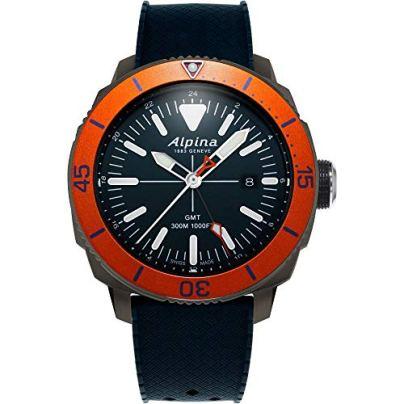 Alpina Men's Seastrong Diver Titanium/Stainless Steel Swiss Quartz Diving Watch with Rubber Strap, Blue, 22 (Model: AL-247LNO4TV6)